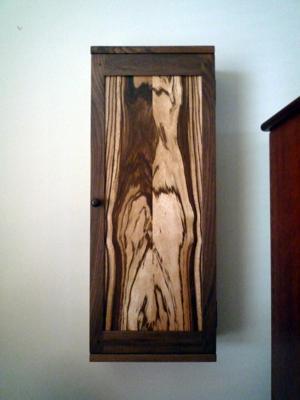 Zebra/Walnut Wood Wall Cabinet